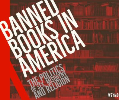 Banned books in red