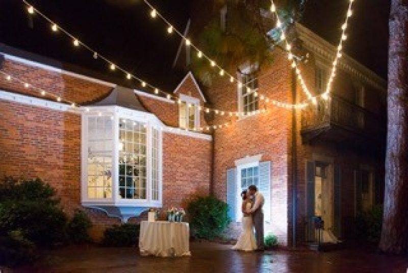wedding photo lighted patio (Sayer)