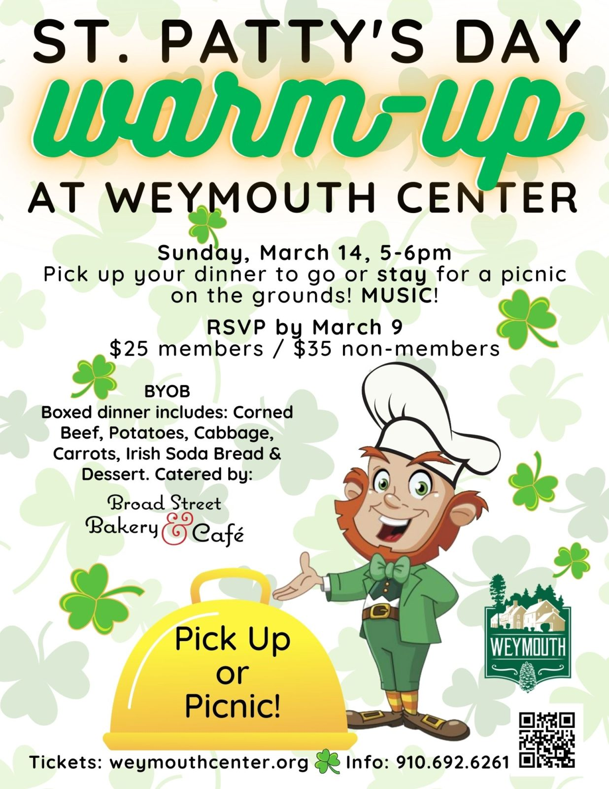 St. Patty's Day Warm-Up!  corned beef supper fundraiser @ Weymouth Center for the Arts & Humanities