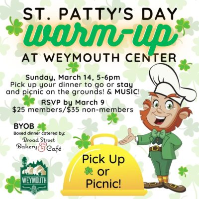 Pick up or Picnic on the grounds. St. Patty's day corned beef dinner.