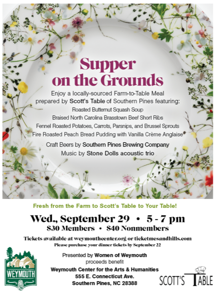 Supper on the Grounds, 9/29/2021, 5-7PM, weymouthcenter.org